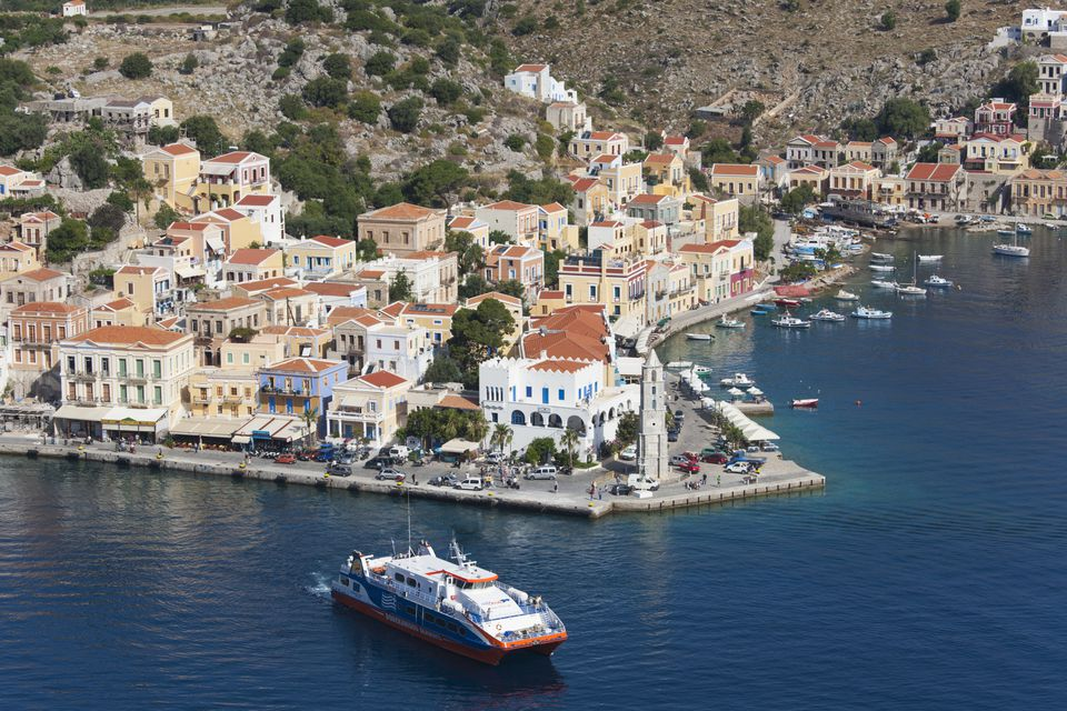 Car ferry leaving port, Gialos, Symi, Greece