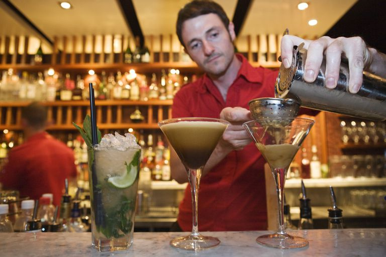 Barman making an espresso martini at Luxe Bar
