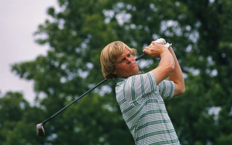 Golfer Johnny Miller, first to shoot 63 in a US Open, pictured in 1976