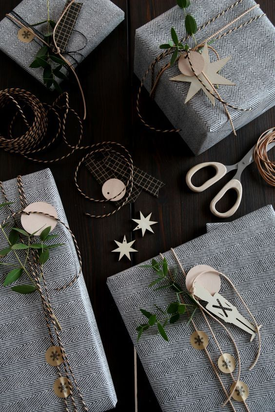 Modern gift wrapping in fabric