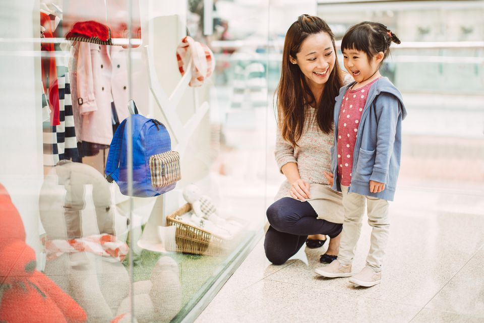 Mom and daughter school shopping