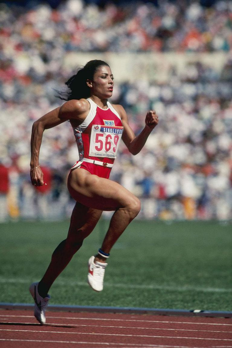 Sep 1988: Florence Griffith-Joyner of the USA in action at the 1988 Olympic Games in Seoul, South Korea. Griffith-Joyner won gold medals in the 100 and 200 Metres events.