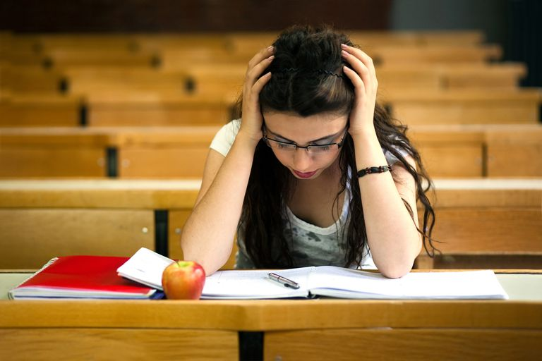 Stressed out student taking exam