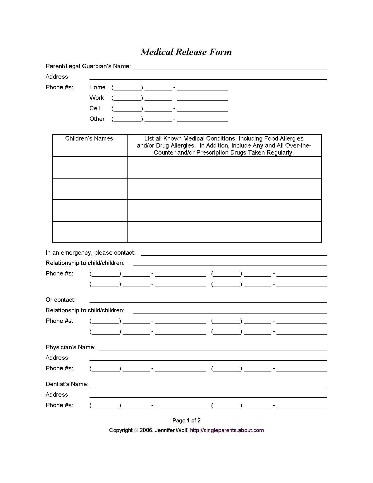 Temporary Guardianship Form for Parents & Grandparents