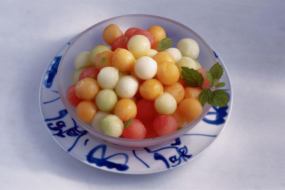 A bowl of melon salad