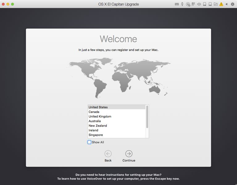 OS X El Capitan Setup Welcome screen