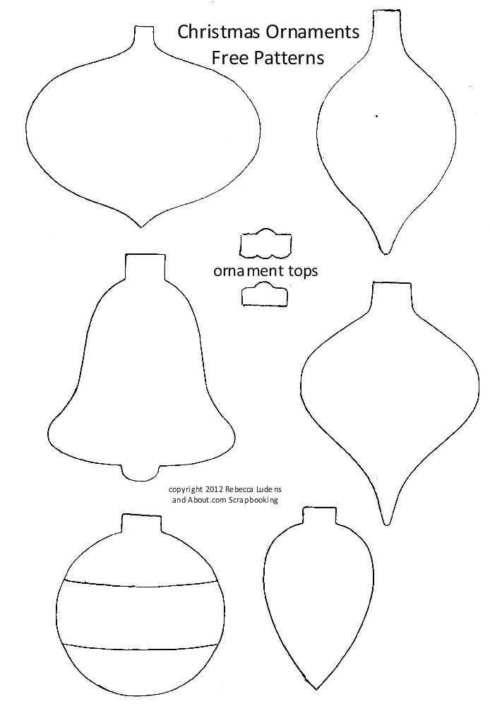 free christmas tree ornaments patterns for scrapbooking and card making rebecca ludens - Christmas Tree Light Bulb