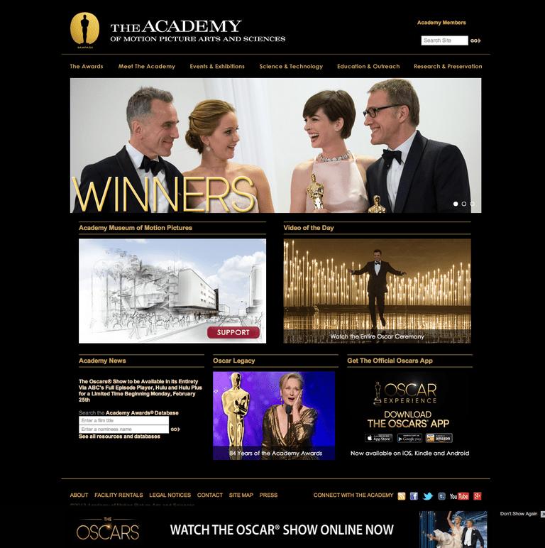 The Oscars Website