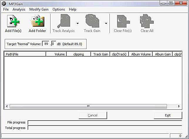 MP3Gain - Main Screen