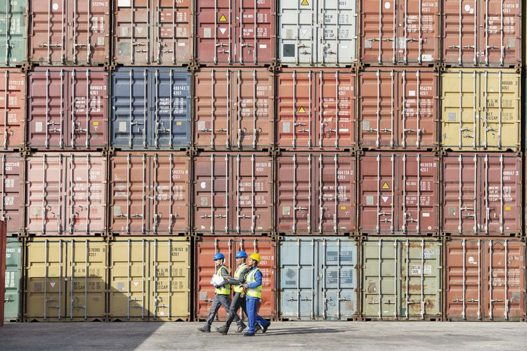 Workers walking together near stack of cargo containers