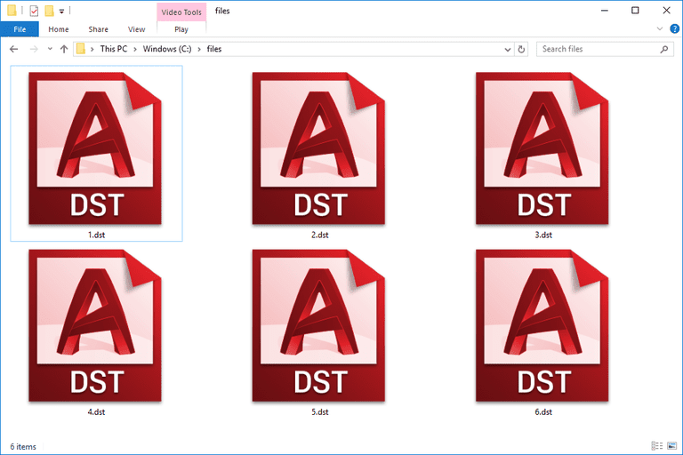 Screenshot of DST files in Windows 10 that are used with AutoCAD
