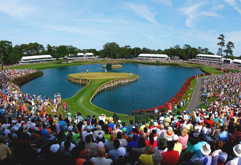 Crowd around the 17th hole during The Players Championship