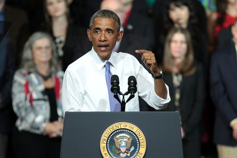Barack Obama giving a speech