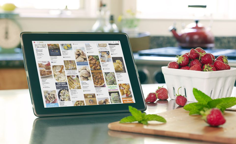 How to use pinterest as an online recipe box pinterest on tablet in kitchen use pinterest as your online recipe forumfinder Choice Image
