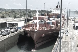 Ship crossing through Panama Canal