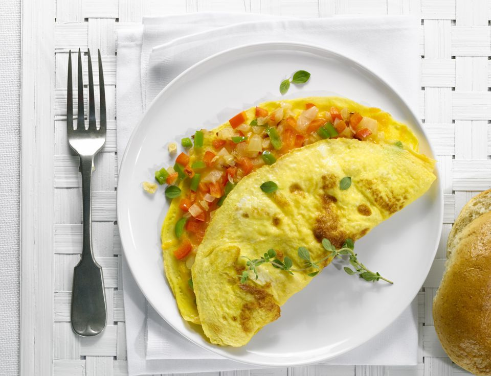Veggie omelet with red and green bell peppers