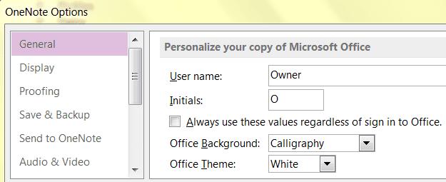 Personalization Settings in Microsoft OneNote 2013