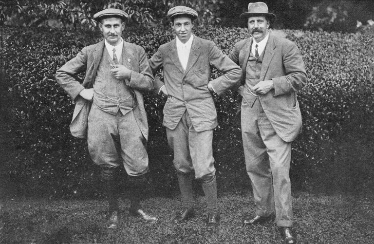 Harry Vardon, Francis Ouimet and Ted Ray in a photo taken in 1914