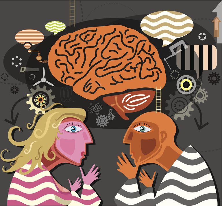 Illustration of brain and two peopl
