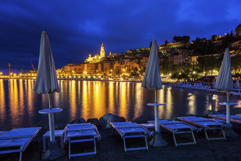 Panorama of Menton at night