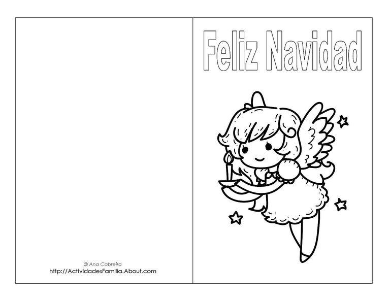 Tarjetas de navidad para imprimir y colorear - Postal navidena infantil ...
