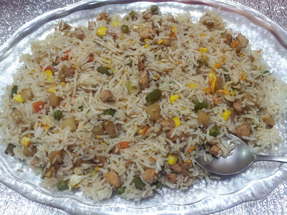 Basmati Rice Pulao or pulav with Peas also known as matar pulao