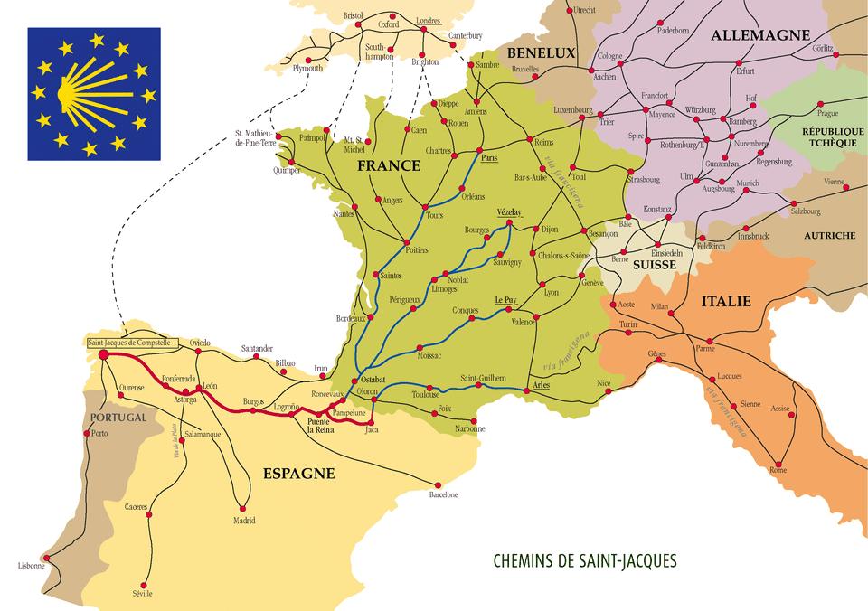 Camino de Santiago routes through Europe