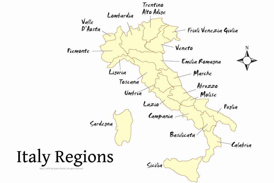 Map Of Italy With Regions Compressportnederland