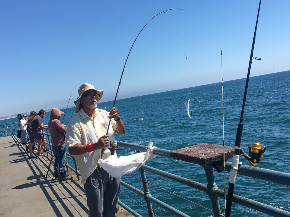 fishing on the santa monica pier