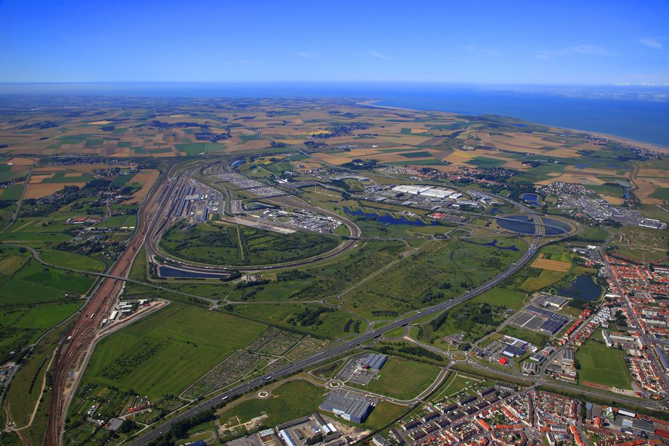 France, Northern France, Pas de Calais. Calais. Eurotunnel site and Cite Euopr mall.