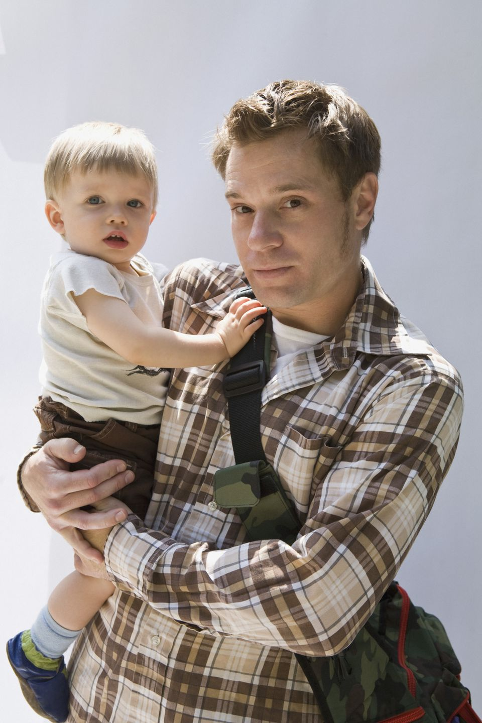 Father and Baby with Diaper Bag