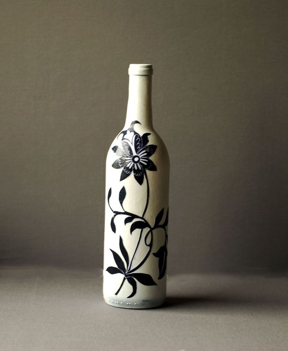 Asian style recycled decoupage wine bottle craft for How to smooth cut glass bottles