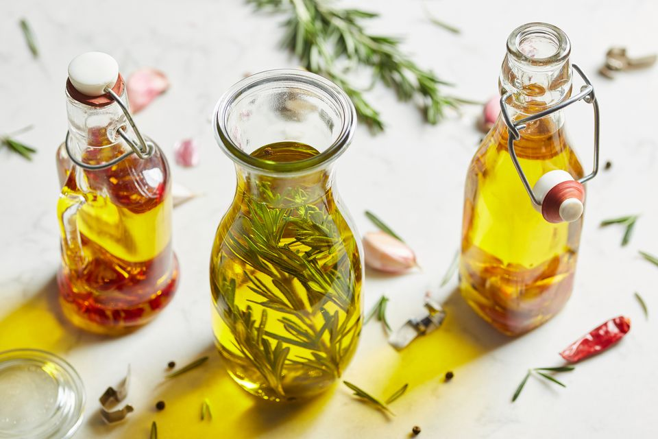 different oils in bottles