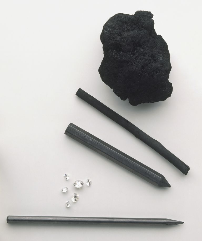 Allotropes of carbon including a coal, charcoal, graphite, and diamonds.