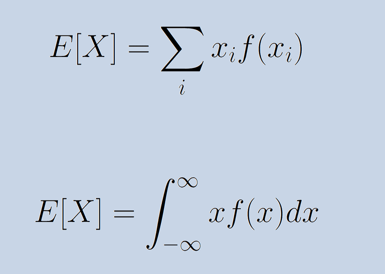 Formula for expected value for both discrete and continuous random variables.
