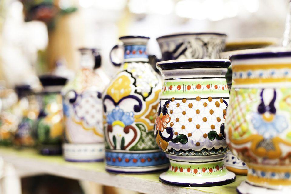 Pottery on a shelf