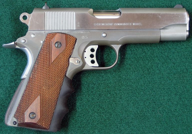 Right side of Colt Lightweight Stainless Commander pistol.