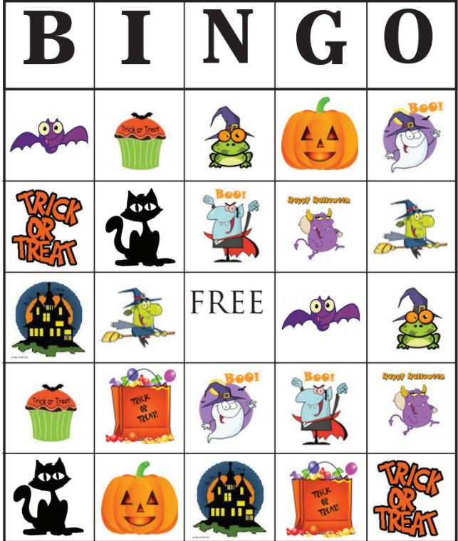 a close up of a halloween bingo card - Preschool Halloween Bingo