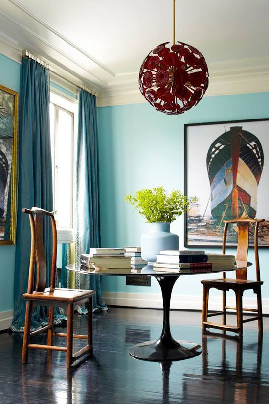 blue dining rooms. Light Blue Dining Room With Unusual Lighting Fixture Rooms