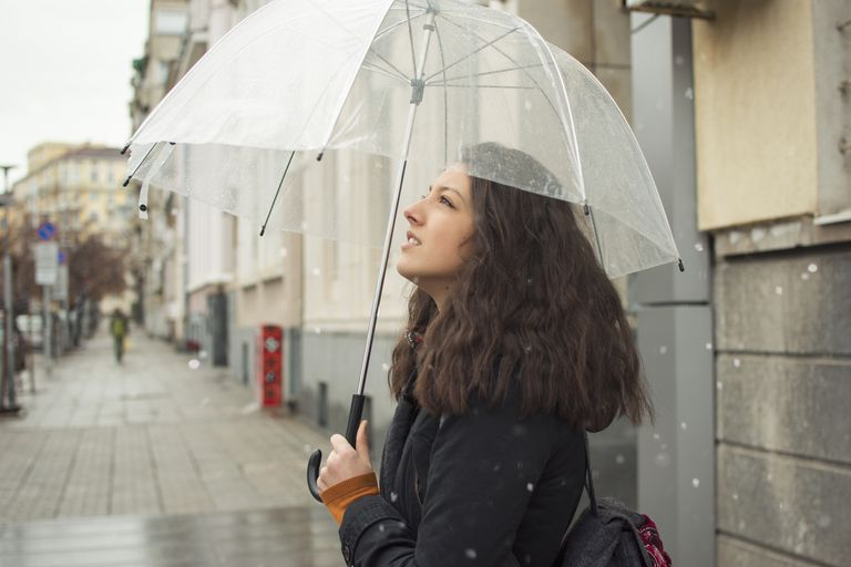 Woman in a rainy season