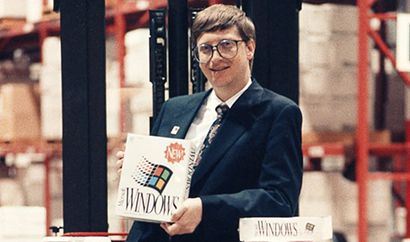 Microsoft Founder Bill Gates shows the newly-released Windows 3.0