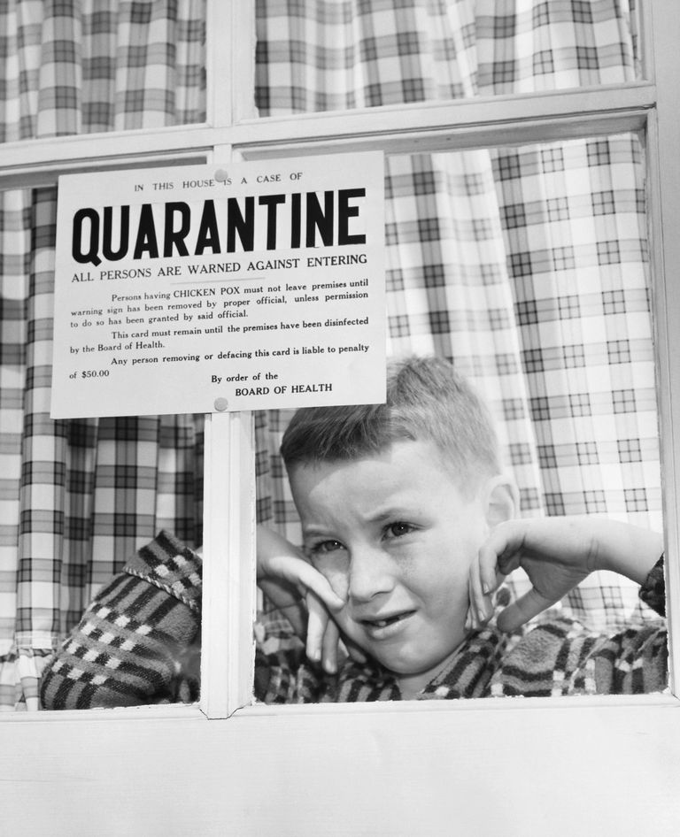 A boy quarantined in his home for chicken pox.