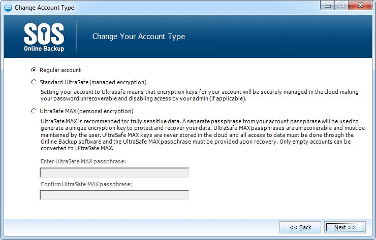 Screenshot of the Change Account Type screen in SOS Online Backup