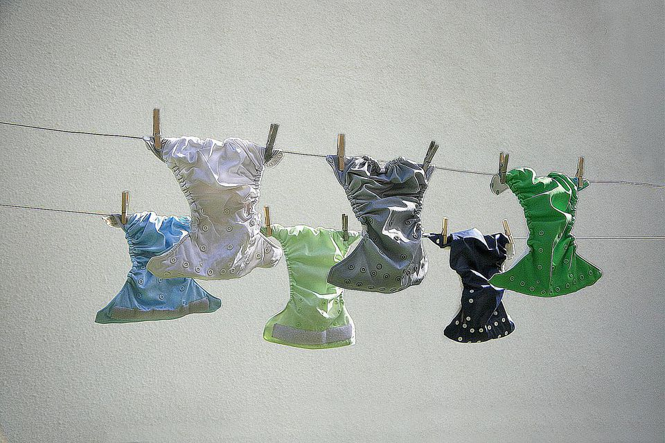 Used Cloth Diapers Drying In Sun