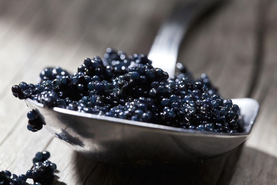 Black caviar on spoon