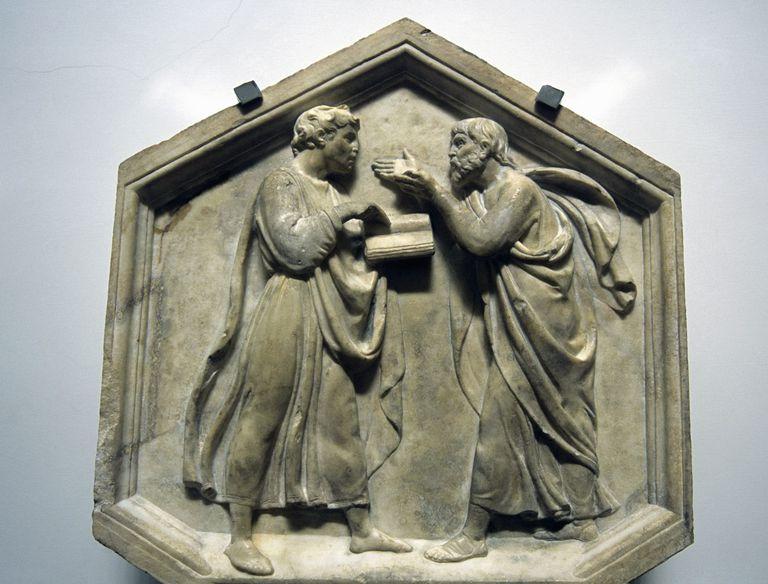 Plato and Aristotle, Relief, Sculpted by Luca della Robbia, 15th century, Renaissance