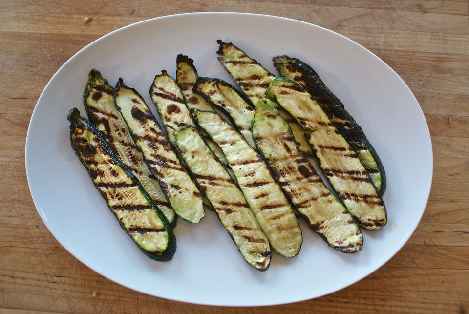 A plate of grilled summer squash or zucchini