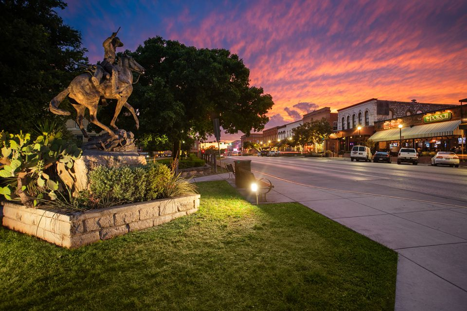 Downtown San Marcos at sunset