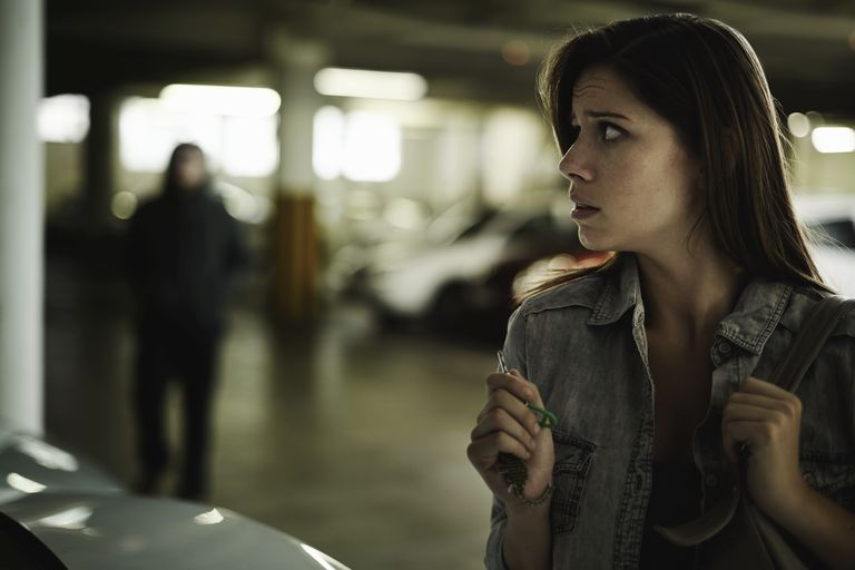 woman looking scared in parking garage