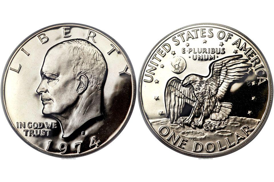 1974-S proof Eisenhower dollars graded PR-70